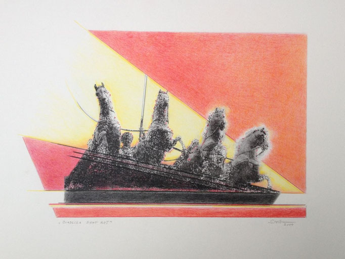 Quadriga sieht rot, Monotypie, 50 x 35 cm, 2000. (632)