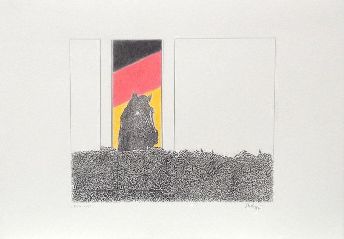 Blick-Los, Monotypie, 35 x  50 cm, 1997. (644)