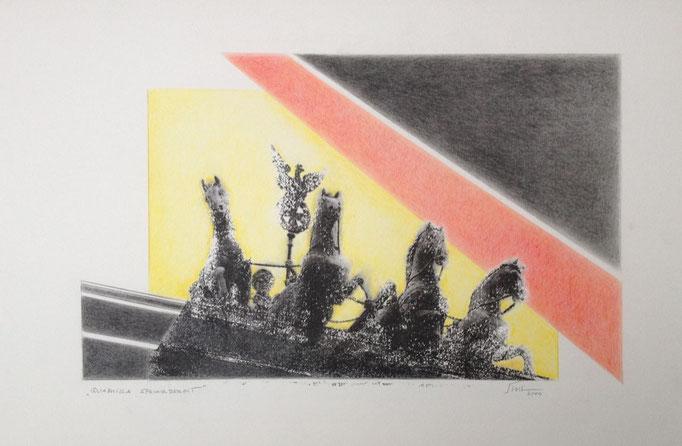 Quadriga sprungbereit, Monotypie, 50 x 35 cm, 2000. (633)