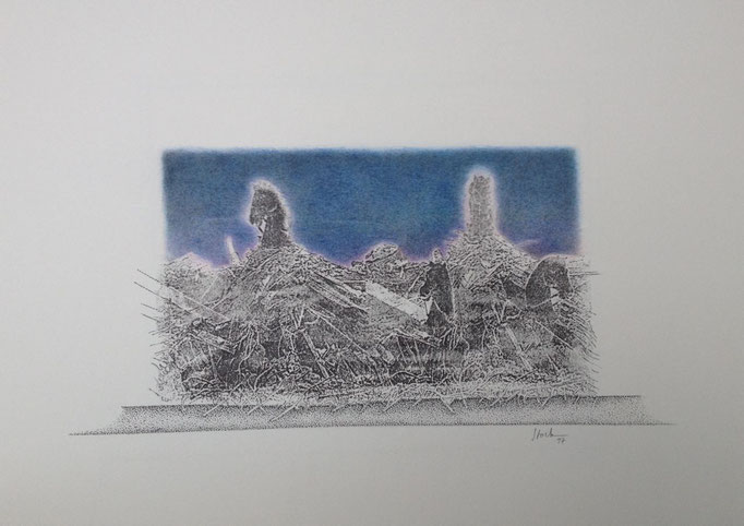 Quadriga formiert sich 2, Monotypie, 50 x 35 cm, 1997. (623)