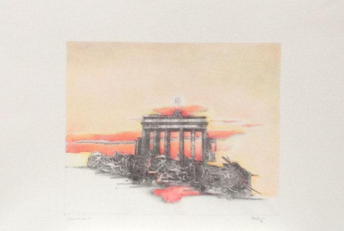 Morgenrot, Monotypie, 50 x 35 cm, 1997. (624)