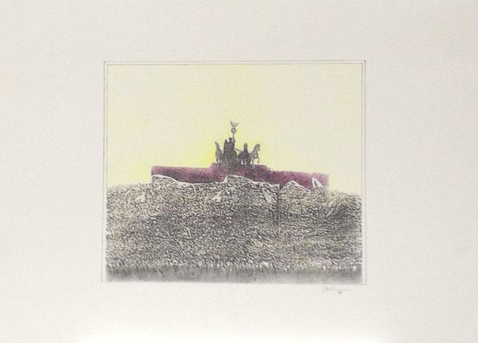 Mauerspringer, Monotypie, 50 x 35 cm, 1997. (625)