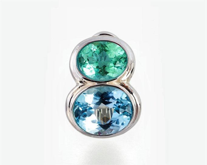 Turmalin blaugrün/Aquamarin fac. P.a.A.