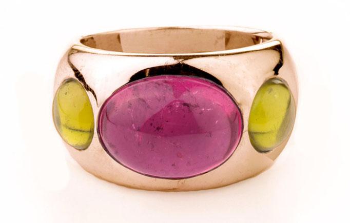 Turmalin pink/Peridot/ 585 Gelbgold             P.a.A.