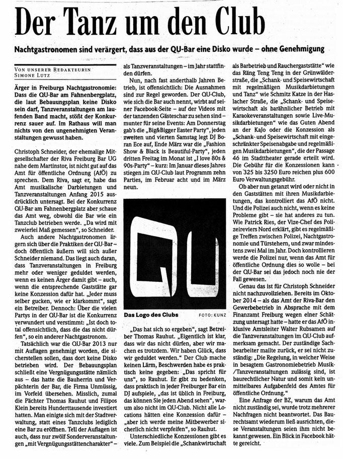 Badische Zeitung Feriburg  4.4.2015