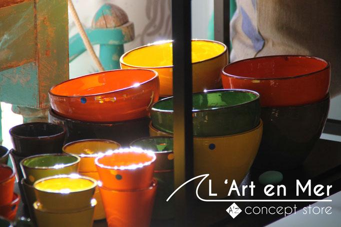 L'art en mer concept store surf shop les lecques vaisselles tasse à café céramiques de créateurs