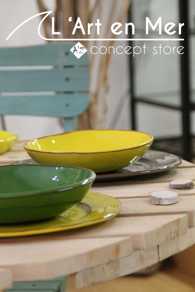 L'art en mer concept store surf shop les lecques vaisselles assiettes céramiques de créateurs