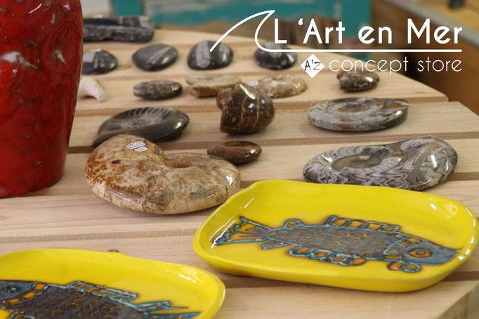 L'art en mer concept store surf shop les lecques poissons céramiques