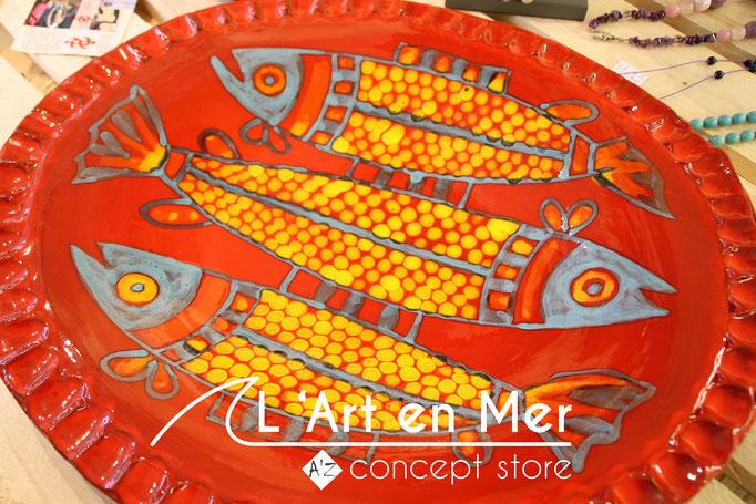 L'art en mer concept store surf shop les lecques vaisselles plats déco céramiques de créateurs