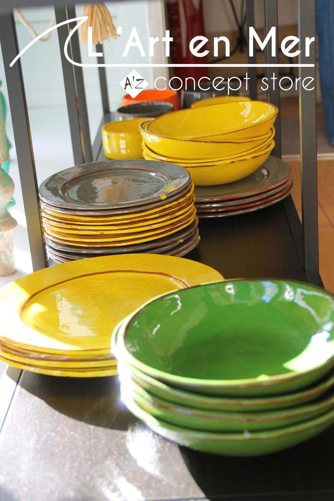 L'art en mer concept store surf shop les lecques vaisselles assiettes creuses céramiques de créateurs
