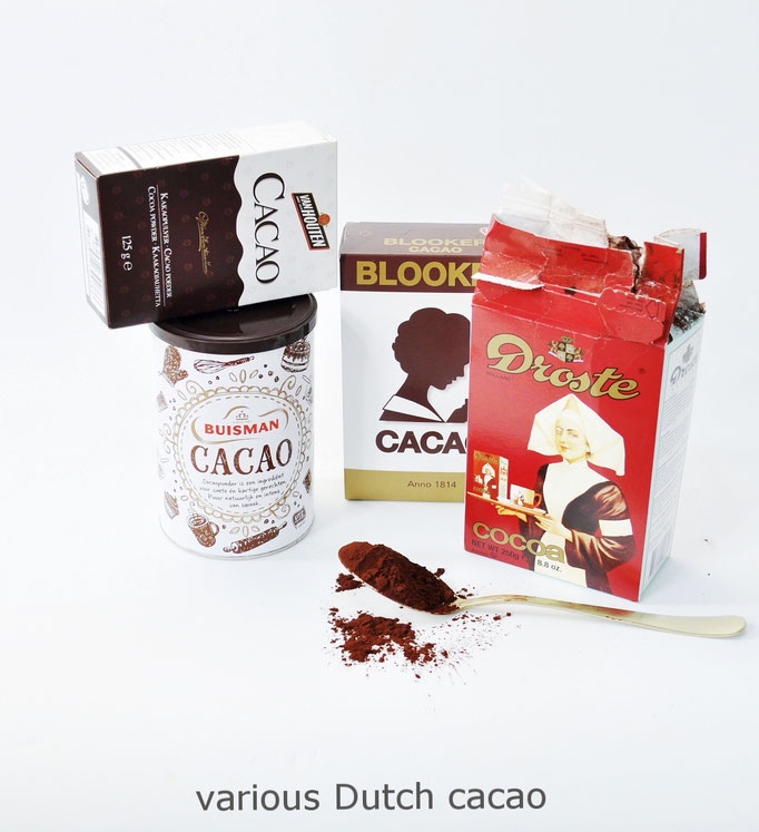 Various brands of dutch cacao powder.