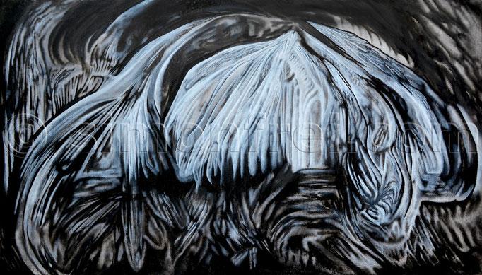 """""""Rhizom"""", 40×70cm, Mischtechnik auf Leinen, 2014"""