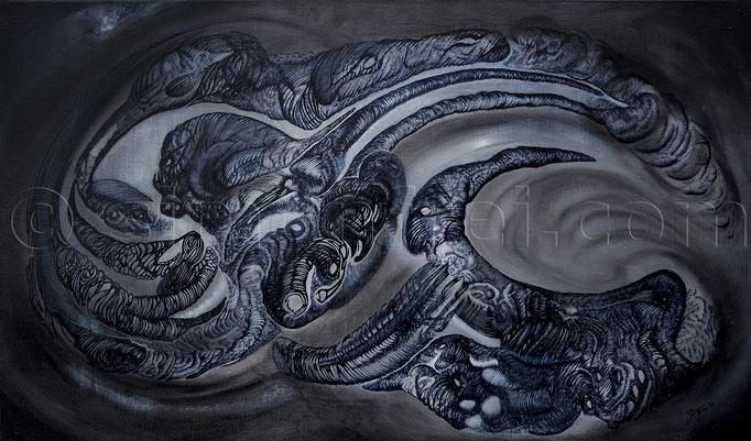 """""""Die Ruhe vor dem Sturm"""", 40 x 70 cm, Mischtechnik auf Leinen, 2012"""