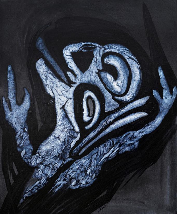 """""""kontra"""", 55 x 45 cm, Mischtechnik auf Leinen, 2013"""