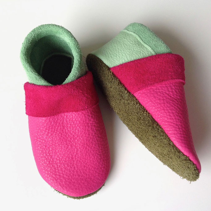 Krabbelschuhe basic in pink, mint & khaki