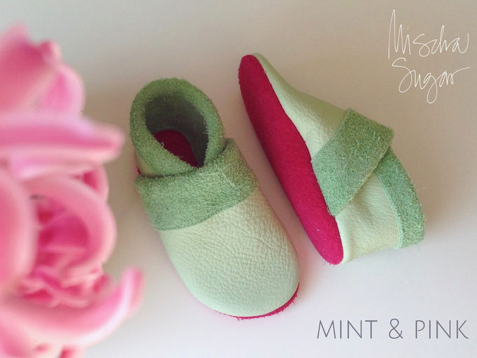 Krabbelschuhe Basic mint & pink