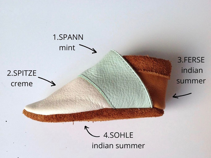 Krabbelschuhe MIXit in mint, creme & indian summer