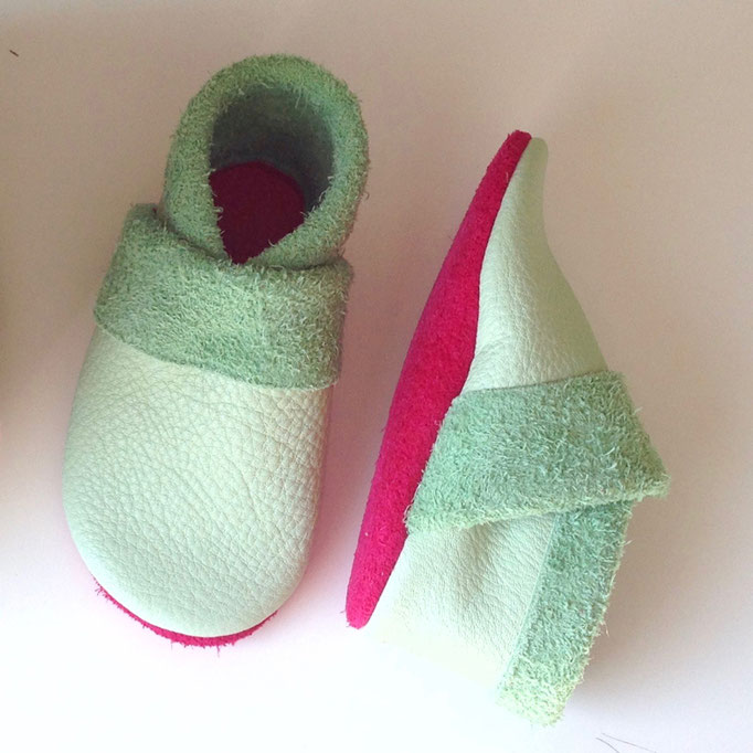 Krabbelschuhe Basic in mint & pink