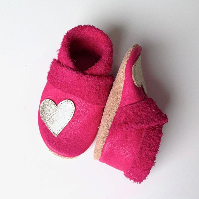 Krabbelschuhe Herz in pink & nude