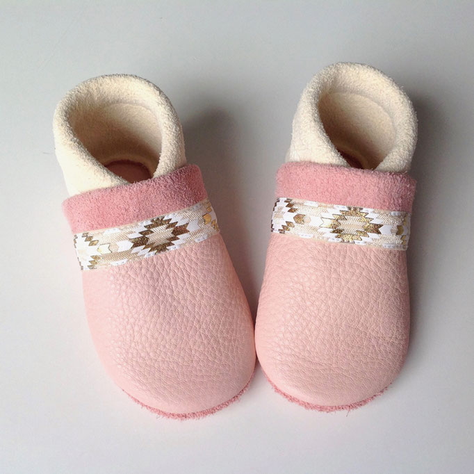 Mokassins Boho in rosa & weiß