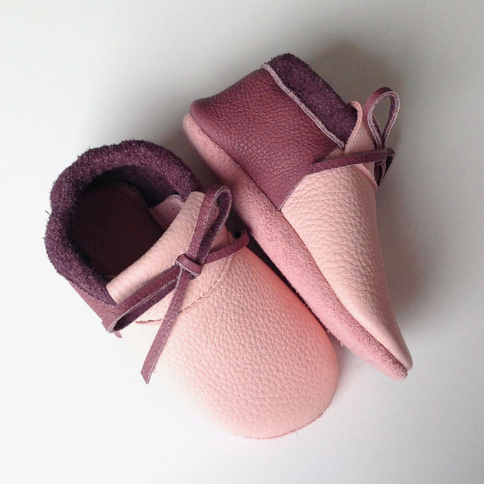 Mokassins mit Schleife in rosa & dustylila