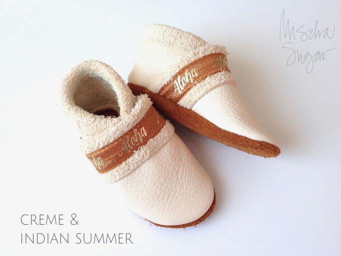 Krabbelschuhe BOHO  creme & indian summer