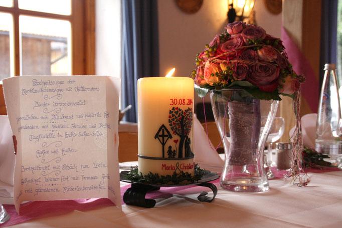 Hochzeitskerze im Trachtenheim Irschenberg