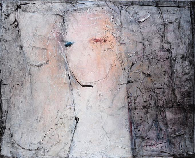 POLYTECHNIQUE, 1989  Acrylique et Modeling Paste - 30 X 24 po. (76 X 61 cm)