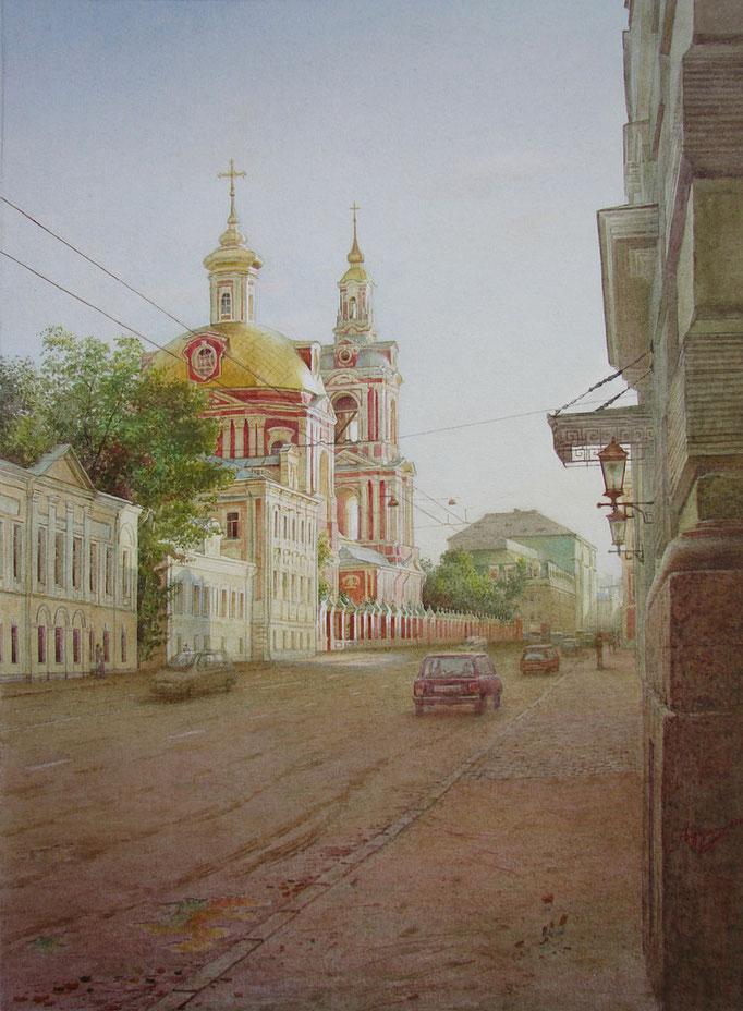 Старая Басманная улица. 2005. Бумага, акварель. 43 х 31
