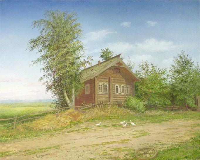 Дом пастуха. 2005. Холст, масло. 40 х 50. Архангельская область. Деревня Коскошина.
