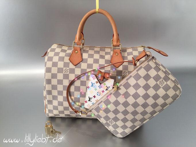 Louis Vuitton Damier Azur Speedy 30 & Pochette Accessoires, Louis Vuitton Monogram Multicolore Taschenspiegel in Weiß