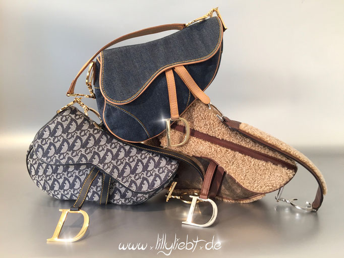 Christian Dior Diorissimo Saddle Bag, Shearling Flight Saddle Bag, Jeans Saddle Bag in Blau