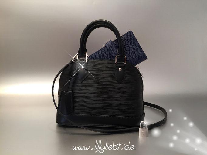 Louis Vuitton Epi Alma BB in Schwarz, Louis Vuitton Epi Viennois in Myrtille Blue
