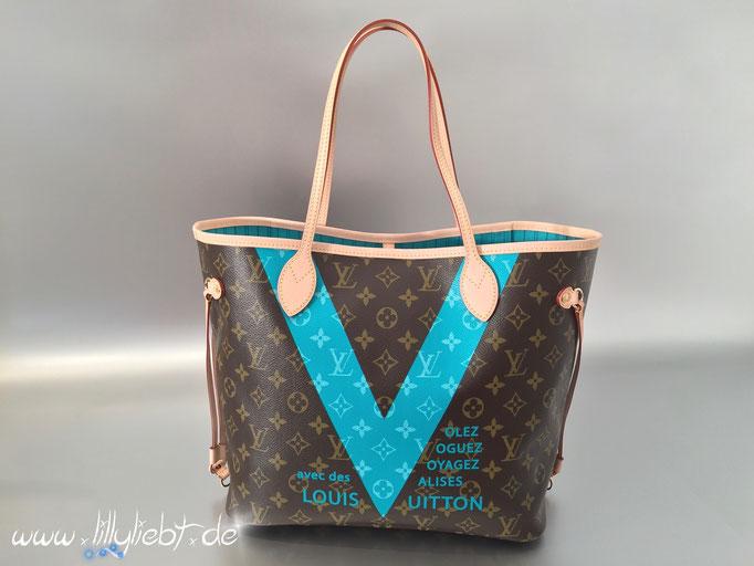 Louis Vuitton Monogram V Neverfull MM in Türkis