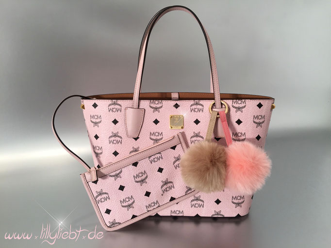 MCM Color Visetos Shopper Small in Rosa