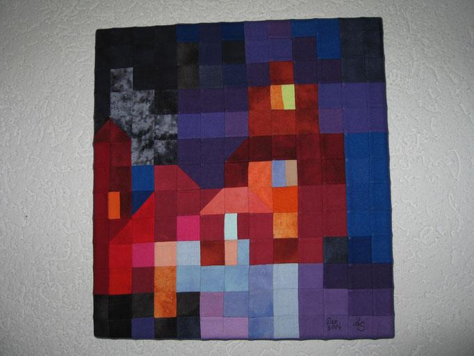 kleines Wandbild auf Keilrahmen nach Ton Schulten (holländischer Maler), 30 cm hoch, 28 cm breit
