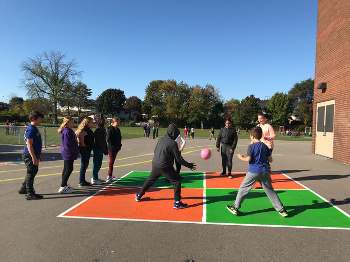 Playing Four Square at Waverly Public School in Oshawa, Ontario