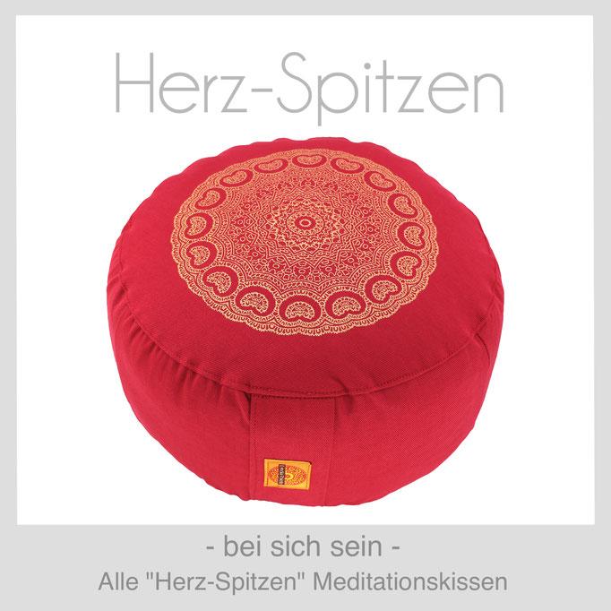 Designer Meditationskissen Gr. M Schneidersitz Kniesitz Herz-Spitzen
