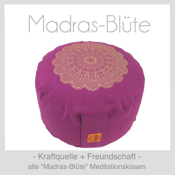 Designer Meditationskissen Gr. M Schneidersitz Kniesitz Madras-Blüte
