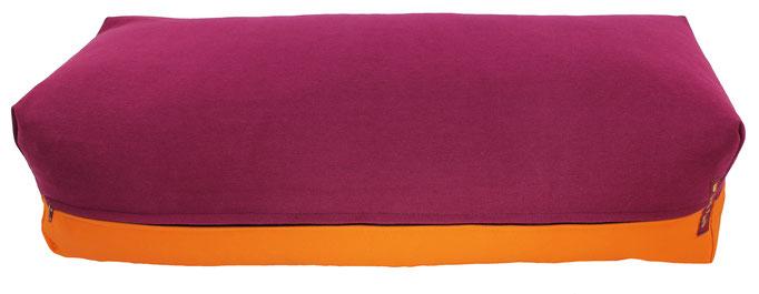 Yoga Bolster eckig Köln aubergine + orange