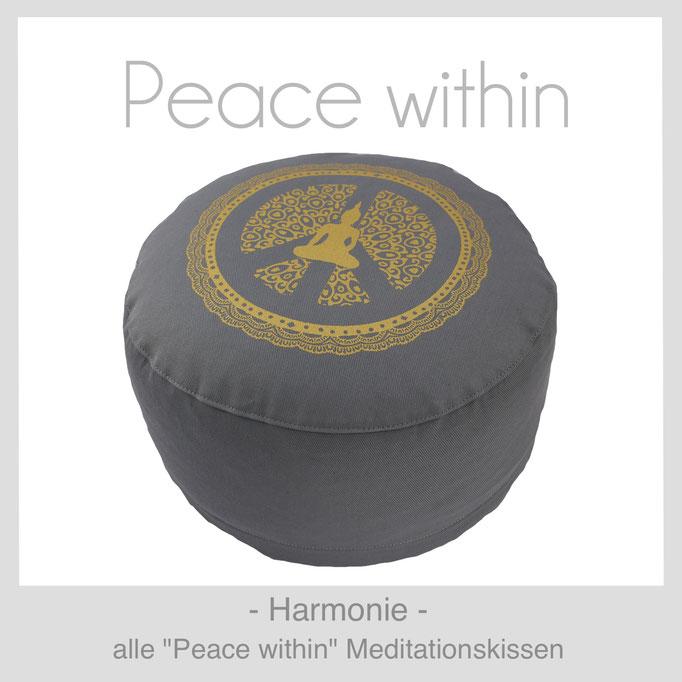 Designer Meditationskissen Gr. M Schneidersitz Kniesitz Peace within