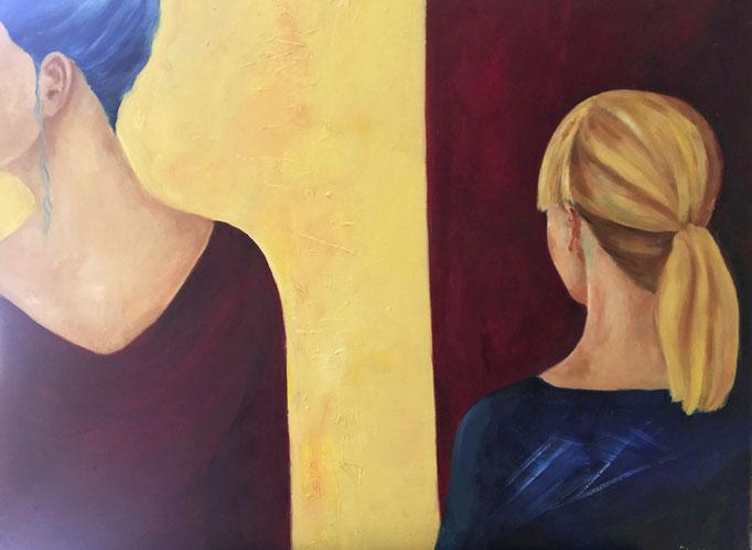 Zu Zweit     Mixed Media auf Leinwand     90 x 100 cm     2017