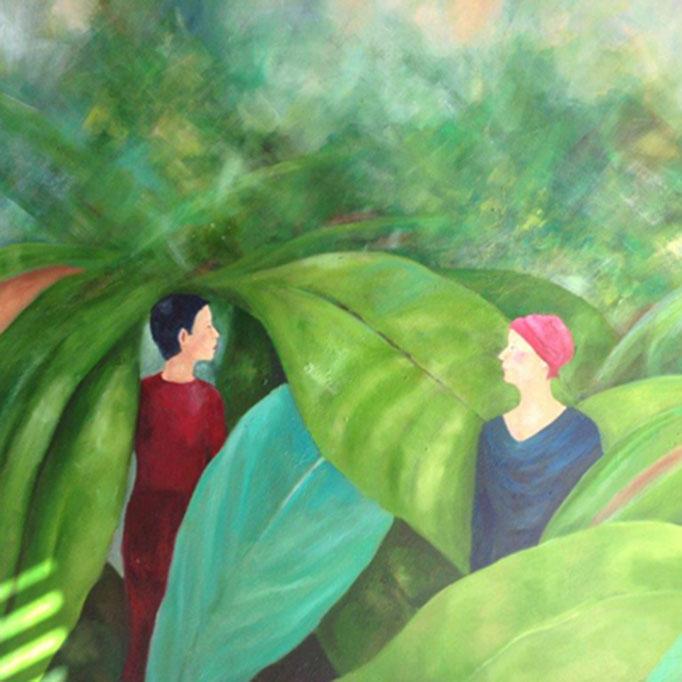 Überraschung im Grünen | Öl auf Leinwand | 100 x 120 cm | 2015
