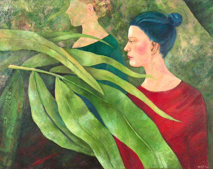 Gardenladies | Triptychon | Mixed Media auf Leinwand | 280 x 90 cm | 2011