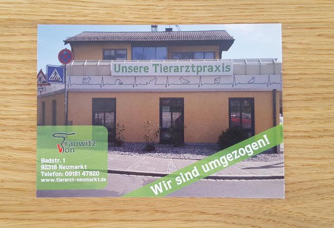 Postkarte für Umzug von Praxi