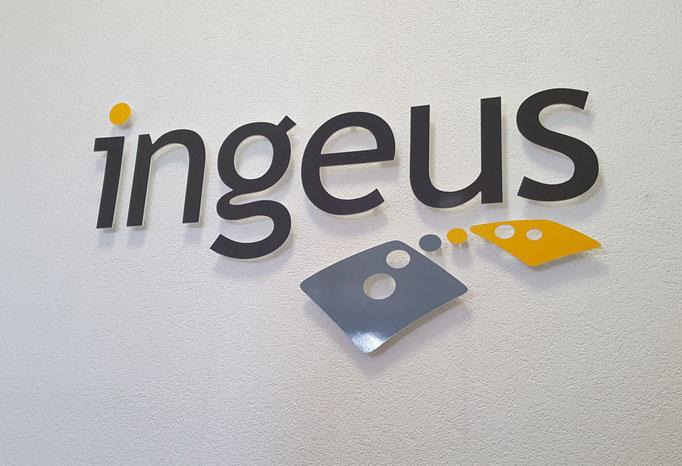 konturgefrästes 3D Logo für Ingeus Roth