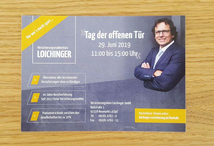 Einladung Postkarte Tag der offenen Tür inklusive Adressierung