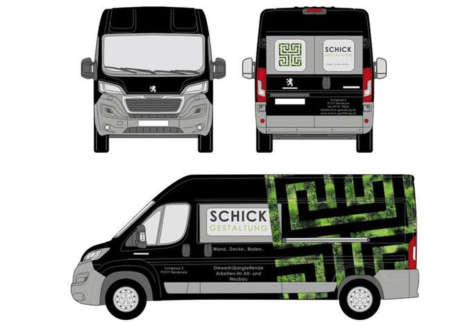 digitaler Entwurf einer Fahrzeugfolierung