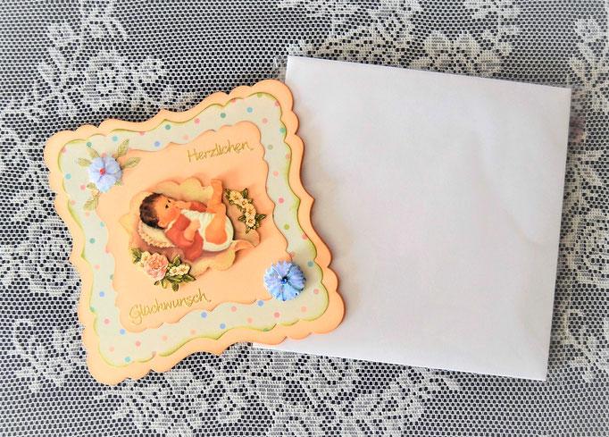 Babykarte mit Kuvert lachs-bunt