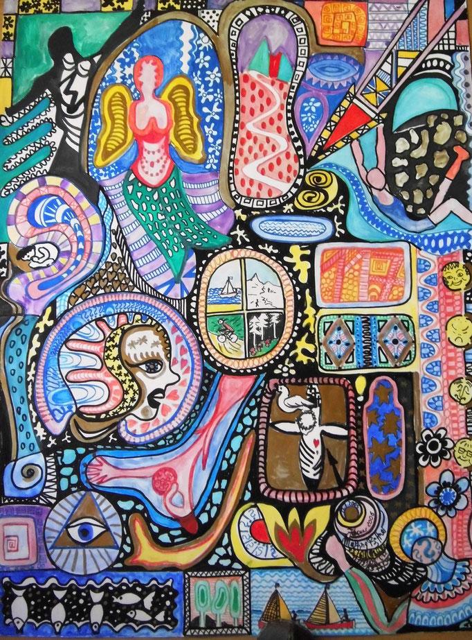 Meine Gedanken zum 11.7.2005; Guache; Stifte, 60 x80 cm